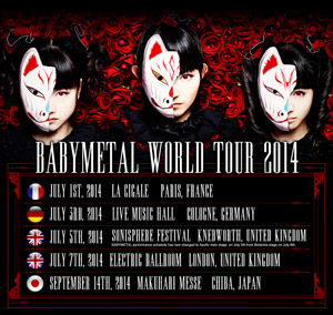BABYMETAL、日本公演を含むワールド・ツアー決定! 英大型ロックフェスのメインステージに異例の大抜擢!