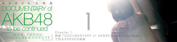 AKB48 大特集 DOCUMENTARY of AKB48 to be continued - Chapter 1 映画『DOCUMENTARY of AKB48 to be continued』で知るAKB48