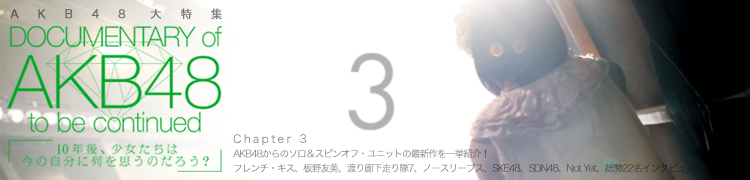 AKB48 大特集 DOCUMENTARY of AKB48 to be continued - Chapter 3 AKB48からのソロ&スピンオフ・ユニットの最新作を一挙紹介!〜フレンチ・キス、板野友美、渡り廊下走り隊7、ノースリーブス、SKE48、SDN48、Not Yet、総勢22名インタビュー!!